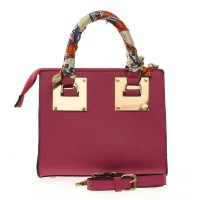 VK1762 Fushia - Metal Handle Design Ribbon Detail Handbag