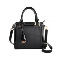 VK2027 Black - Simple Solid Fashion Women Patchwork Handbag