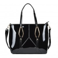 VK2046 Black - Fashion Women Smooth Patchwork Metal Decoration Handbag
