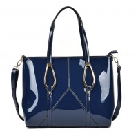 VK2046 Blue - Fashion Women Smooth Patchwork Metal Decoration Handbag