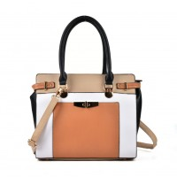 VK2049 Apricot - Patchwork Simple Women Handbag