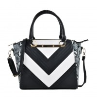VK2051 Blue - Snakeskin Pattern Stripe Patchwork Handbag