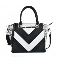 VK2051 White - Snakeskin Pattern Stripe Patchwork Handbag