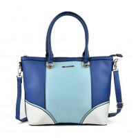 VK2052 Blue - Patchwork Women Zipper Handbag