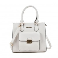 VK2054 White- Classic Design Women Sold Handbags