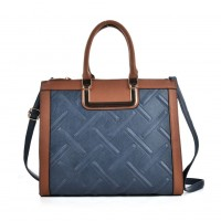 VK2055 Blue - Plaid Casual Patchwork Women Handbag