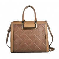 VK2055 Khaki - Plaid Casual Patchwork Women Handbag