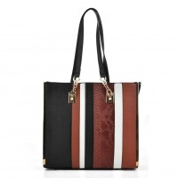 VK2056 Black - Stripe Fashion Women Snakeskin Pattern Handbag