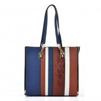 VK2056 Blue - Stripe Fashion Women Snakeskin Pattern Handbag