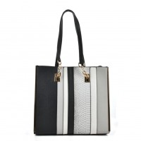 VK2056 Grey - Stripe Fashion Women Snakeskin Pattern Handbag