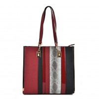 VK2056 Red - Stripe Fashion Women Snakeskin Pattern Handbag