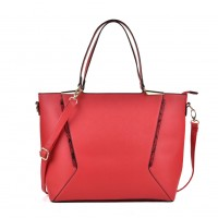 VK2059 Red - Snakeskin Pattern Patchwork Women Handbag