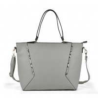 VK2059 White - Snakeskin Pattern Patchwork Women Handbag