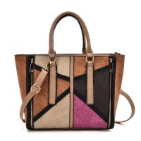 VK2061 Beige - Mixed Texture Zip Side Winged Tote Bag