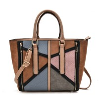VK2061 Blue - Mixed Texture Zip Side Winged Tote Bag