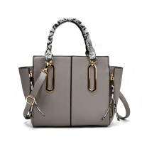 VK2062 Grey - Zip Side Serpentine Handle Tote Bag