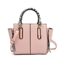 VK2062 Pink - Zip Side Serpentine Handle Tote Bag