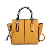 VK2062 Yellow - Zip Side Serpentine Handle Tote Bag