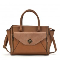 VK2063 Brown - Double Zipper Tote Bag