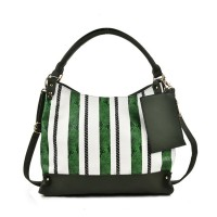 VK2067 Green - Snakeskin Hobo Slouch Cross Body Bag With Mini Purse