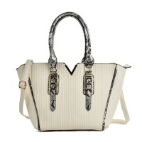 VK2068 Beige - Fashion Serpentine Handle Tote Bag With Metal Bar