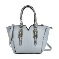 VK2068 Blue - Fashion Serpentine Handle Tote Bag With Metal Bar