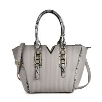 VK2068 Grey - Fashion Serpentine Handle Tote Bag With Metal Bar