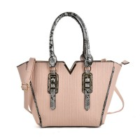 VK2068 Pink - Fashion Serpentine Handle Tote Bag With Metal Bar