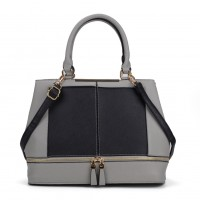 VK2078 Black - Contrast Women Tote Bag With Zip Detail