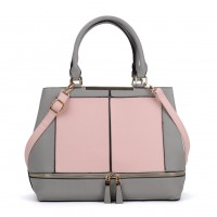 VK2078 Pink - Contrast Women Tote Bag With Zip Detail