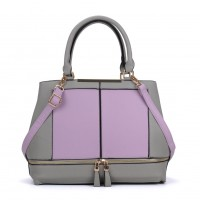 VK2078 Purple - Contrast Women Tote Bag With Zip Detail