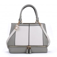 VK2078 White - Contrast Women Tote Bag With Zip Detail