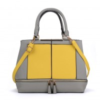 VK2078 Yellow - Contrast Women Tote Bag With Zip Detail