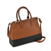 VK2082 Brown - Patchwork Tote Bag With Metal Details