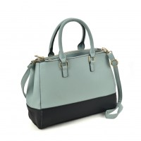 VK2082 Green - Patchwork Tote Bag With Metal Details