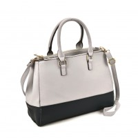 VK2082 White - Patchwork Tote Bag With Metal Details