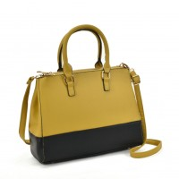 VK2082 Yellow - Patchwork Tote Bag With Metal Details