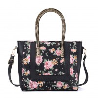 VK2083 Black - Floral Priting Large Tote Bag