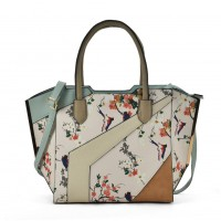 VK2085 Beige - Patchwork Bag With Flower Printing