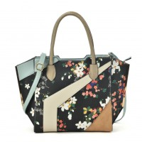 VK2085 Black - Patchwork Bag With Flower Printing