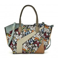 VK2085 White - Patchwork Bag With Flower Printing
