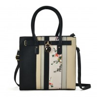 VK2087 Black&White Assort - Patchwork Floral Print Tote Bag With Lock