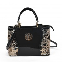 VK2088 Black - Women Large Tote Bag With Floral