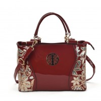 VK2088 Red - Women Large Tote Bag With Floral