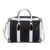 VK2092 Light Grey - Oversized Women Patchwork Metal Tote Bag