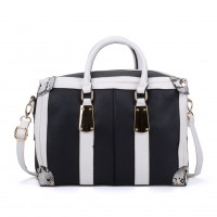 VK2092 White - Oversized Women Patchwork Metal Tote Bag