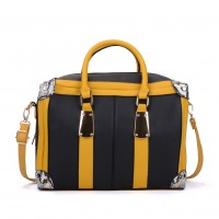 VK2092 Yellow - Oversized Women Patchwork Metal Tote Bag