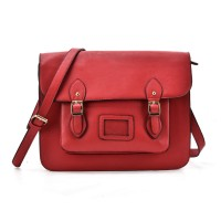 VK2093 Red - Cambridge Style Satchel Messenger Bag