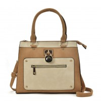 VK2094 Apricot - Front Zip Detail Tote Bag