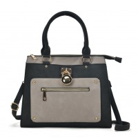 VK2094 Grey - Front Zip Detail Tote Bag